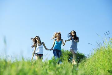women grass fun