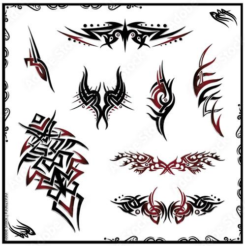 tribal tattoo vector set schwarz rot metallic stockfotos und lizenzfreie vektoren auf. Black Bedroom Furniture Sets. Home Design Ideas