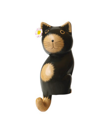 Bali wooden black cat on white background