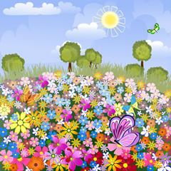Zelfklevend Fotobehang Vlinders Flower airfield