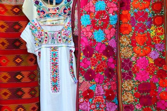 colorful Mexican serape fabric Chiapas dress
