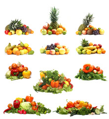 A collage of fresh and tasty fruits on a white background