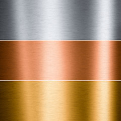 Brushed metallic plates - aluminum, copper and gold