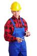 Älterer Bauarbeiter mit Zollstock