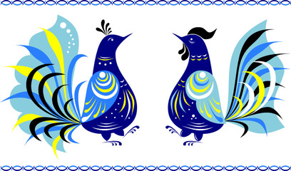 dancing birds in gorodets painting style