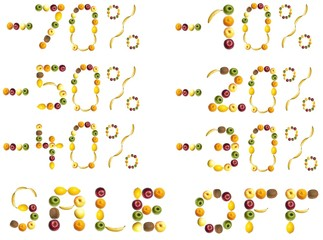 Discount signs made of fruits