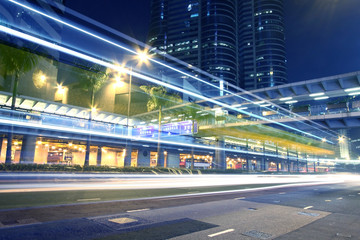 Traffic through downtown in Hong Kong at night