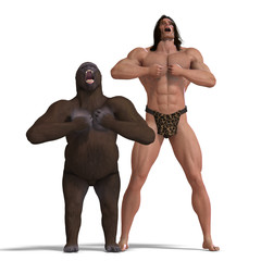 the apeman and the gorilla are ground friends. 3D rendering