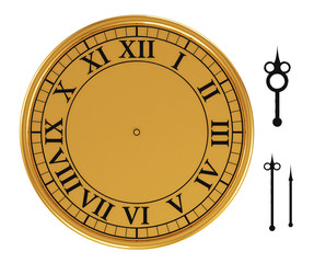 3d antique old clock on white background