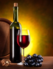 Still life with wine bottles