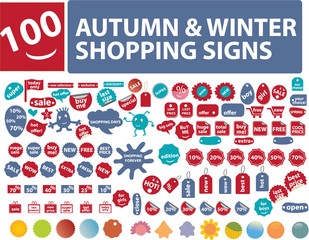100 autumn shopping stickers