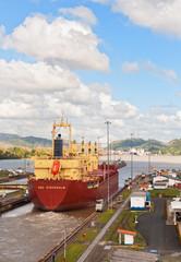 Vessel crossing Panama Canal.