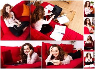 Lesen und arbeiten zu Hause - Collage