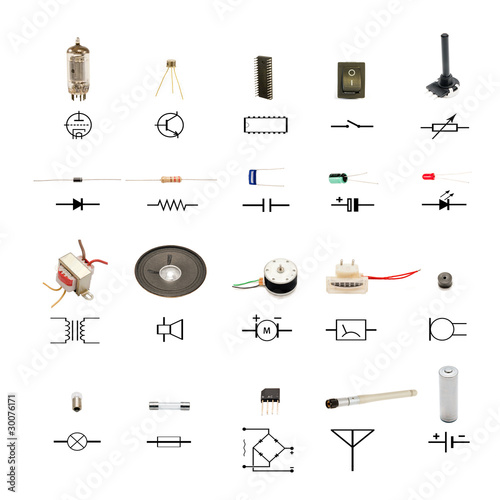 electronic components with circuit schematic symbols on white\