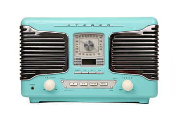 classic blue retro radio isolated
