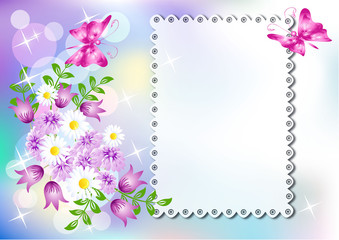 Background with napkin and flowers