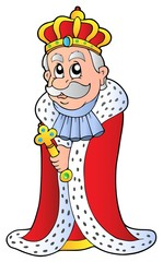 King holding sceptre