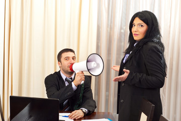 Funny business  people with megaphone