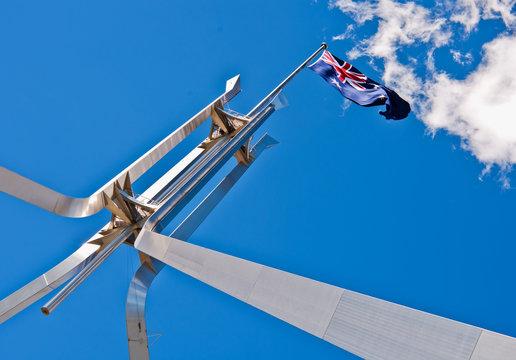 Australian flag atop Parliament House