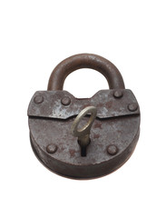 Lock and key on a white background (isolated).