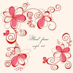 Fototapete - Cute floral frame
