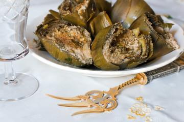dish of filled artichoke