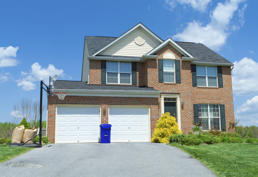 Front Brick Faced Single Family Home Suburban MD