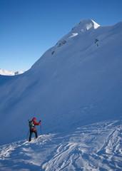 woman hiking in winter, julijan alps