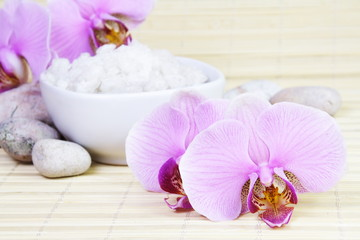 Spa Still Life with Orchids and Sea Salt