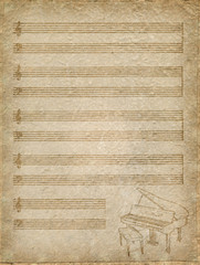 vintage music Paper with grand piano