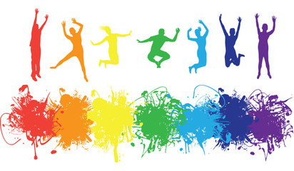 jumping rainbow people