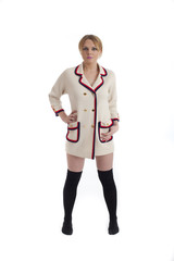 Cute female in retro 60s type jacket