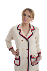 Young woman in retro 60s style jacket