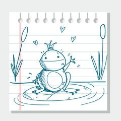 sketched frog prince, vector illustration
