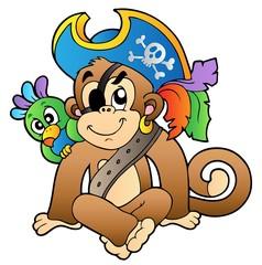 Foto op Plexiglas Piraten Pirate monkey with parrot