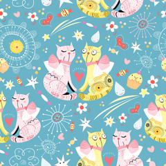 Fotorolgordijn Katten seamless pattern with lovers cats