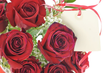Red Roses With Gift Tag