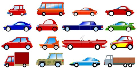 Set of symbolic cars. Vector