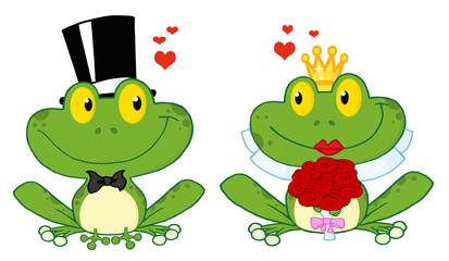 Bride and Groom Frogs Cartoon Characters On A Leafs