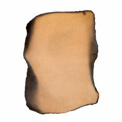 Old burning brown cardboard isolated on white background