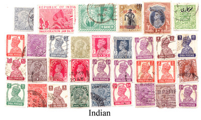 Indian various vintage collection of postage stamps.