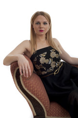Beautiful blond female relaxing isolated