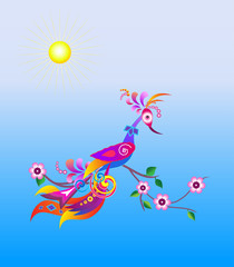 Bright abstract bird on a blossoming branch