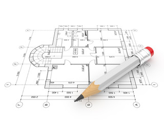Plan of construction. Isolated. 3D illustration