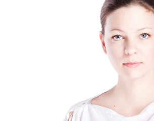 Young woman on a white background