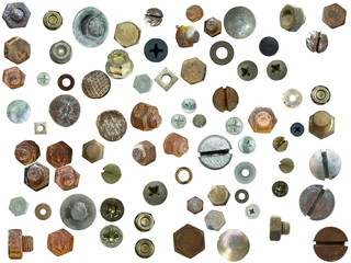 old rusty Screw heads, bolts, steel nuts,old metal nail