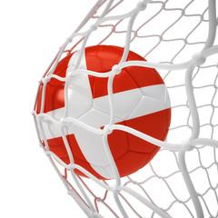 Denmark soccer ball inside the net