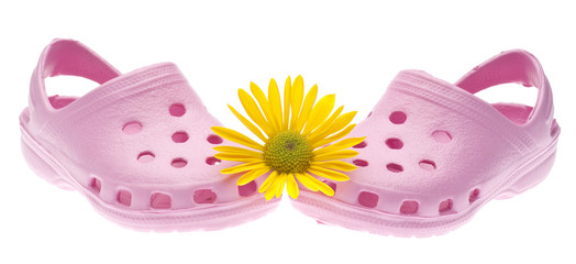 Pink Garden Clogs with Daisy