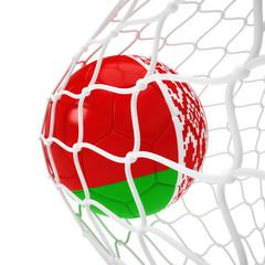 Belorussian soccer ball inside the net