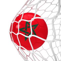 Moroccan soccer ball inside the net